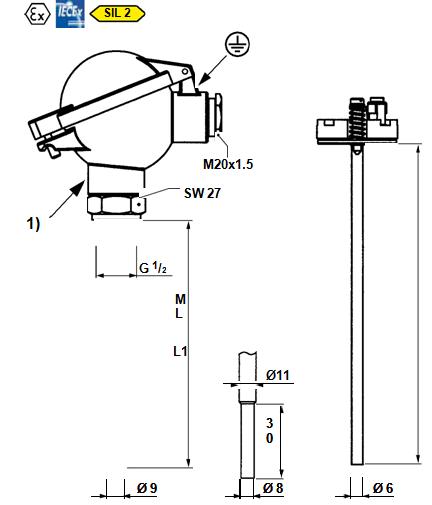 MOSER 螺纹和法兰温度传感器  Component 2100…G
