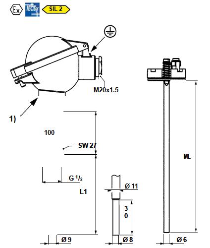 MOSER  螺纹和法兰温度传感器